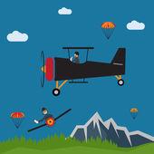 Extreme selfie pilot flat design illustration — Stock Vector