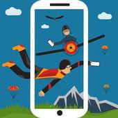 Selfie ekstremalne spadochroniarz i ilustracja pilotażowy projekt płaski — Wektor stockowy