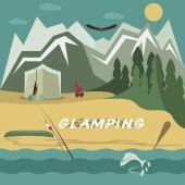 Glamor camping flat design landscape — Stock Vector