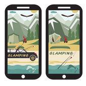 Glamor camping flat design landscape with limousine on smartphon — Stock Vector