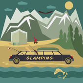 Glamor camping flat design landscape with limousine — Stock Vector
