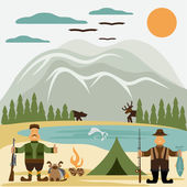 Flat design illustration with fisherman and hunter — Stock Vector