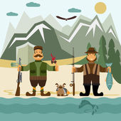 Flat design illustration with fisherman and hunter. Vector — Stock Vector