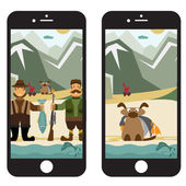 Concept flat design illustration with fisherman and hunter in sm — Stock Vector
