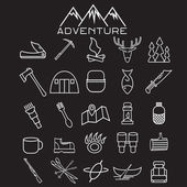 Adventure web icons set flat design — Stock Vector
