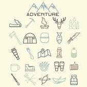 Adventure web icons set flat design — Stock Vector