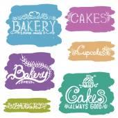 Collection of handwritten vintage retro bakery logo labels. — Stock Vector