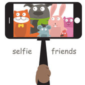 Monopod Selfie with cartoon animals .Vector — Stock Vector