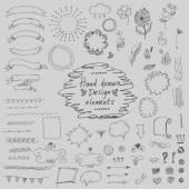 Set of hand drawn design elements:ornaments,floral.Vector — Stock Vector