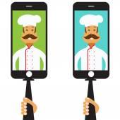Monopod Selfie with cartoon chef .Vector — Stock Vector