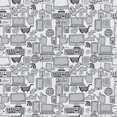 Seamless pattern hand drawn sketch icons for business,internet a — Stock Vector