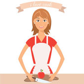 Illustration of pretty woman on kitchen.Vector — Stock Vector