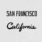 Lettering of San Francisco and California watercolor. Vector — Stock Vector