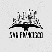 Skyline of San Francisco in watercolor. Vector — Stock Vector