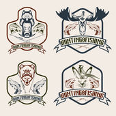 Fishing and hunting vintage labels set — Stock Vector