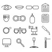 Line craft icons set of ophthalmology and optometry — Stock Vector