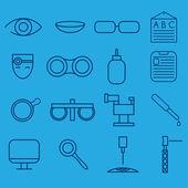 Linia jednostek ikony zestaw Okulistyki i Optometria — Wektor stockowy