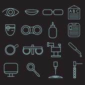 Набор иконок линии ремесло оптометрии и офтальмологии — Cтоковый вектор