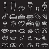 Food and drink line craft icons set — Stock Vector