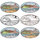 Vintage labels set of adventure camp — Stock Vector