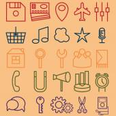 Vector set of icons of business and entertainment theme — Stock Vector