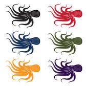 Set of vector octopus — Stock Vector