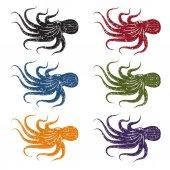 Set of grunge vector octopus — Stock Vector