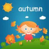 Sonbahar manzara mutlu küçük kız çizgi film gösterimi. V — Stok Vektör