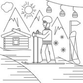 Line craft vector illustration of ski resort — Stock Vector