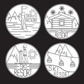 Line craft vector vintage labels of ski resort — Stock Vector