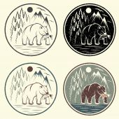 Set of vintage grunge adventure labels with bear,salmon and moun — Stock Vector