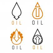 Fall and rise of oil prices vector logo set — Stock Vector