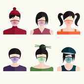 Flat design vector set japanese girls in medical masks — Stock Vector