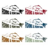 Grunge vector hunting and fishing vintage emblems set — Stock Vector