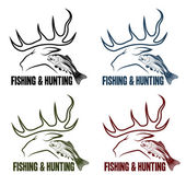 Vector hunting and fishing vintage emblems set — Stock Vector