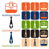 Vector design business lunch and icon set flat design — Stock Vector