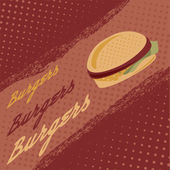Vintage burgers vector poster — Stock Vector