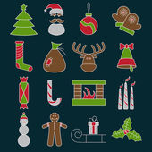 Line craft vector icons set of christmas theme — Stock Vector