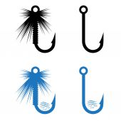 Fishing hooks and lures set — Stock Vector