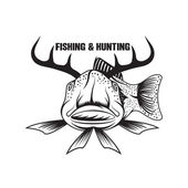 Fishing and hunting funny vector illustration with horned fish — Stock Vector