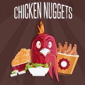 Chicken time fast food vector illustration — Stock Vector