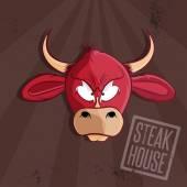 Steak house vector illustration with bull head — Stock Vector