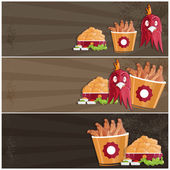 Fried chicken fast food vector banners — Stock Vector