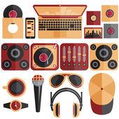 Dj と音楽のテーマのベクター イラストをフラット デザイン — ストックベクタ