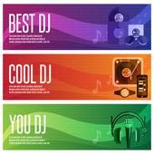Dj と音楽のテーマのベクター バナー セット — ストックベクタ