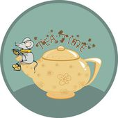 Tea time with mouse — Stock Vector