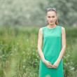 Young beautiful woman in the green dress on the green meadow art portrait — Stock Photo #52927633