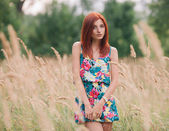 Portrait of a young sensual redhead woman in a summer dress posing at the meadow — Stock Photo