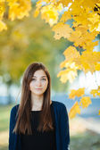 Outdoors portrait of a young beautiful brunette woman with autumn leaves background — Stock Photo