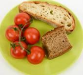 Mediterranean diet bread and tomato — Stock fotografie